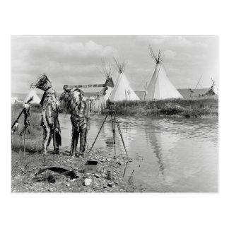 Indios que ven la foto Negatives, 1913 Tarjetas Postales