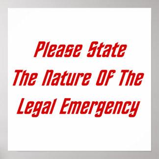 Indique por favor la naturaleza de la emergencia l impresiones