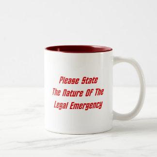 Indique por favor la naturaleza de la emergencia taza de dos tonos