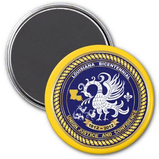 Indirecta bicentenaria de la opinión del logotipo  imán redondo 7 cm
