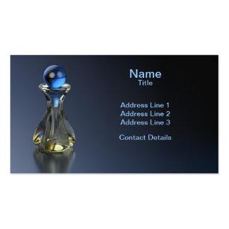 Indirecta de la botella de perfume del azul tarjetas de visita