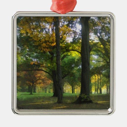 Indirecta del otoño adorno cuadrado plateado