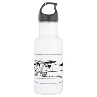 Indiscrete Seaplane White Black Oval Border Stainless Steel Water Bottle