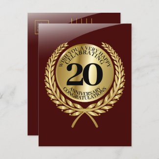 Individual congratulations card on the anniversary in red