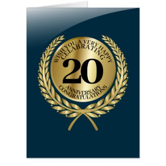 Individual congratulations card on the anniversary in blue