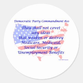 Individual Democratic Commandment #10 Round Sticker