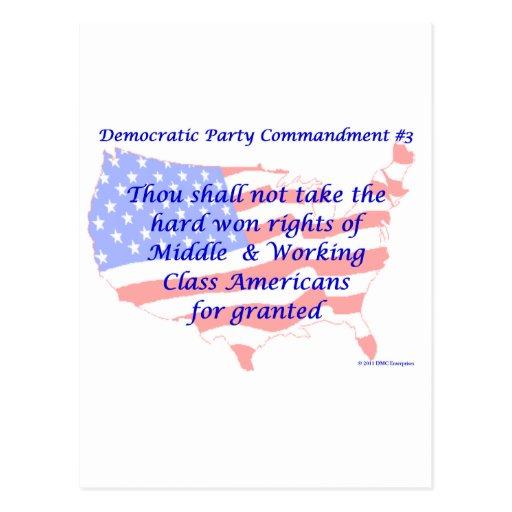 Individual Democratic Commandment #3 Postcard
