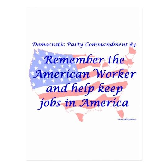 Individual Democratic Commandment #4 Postcard