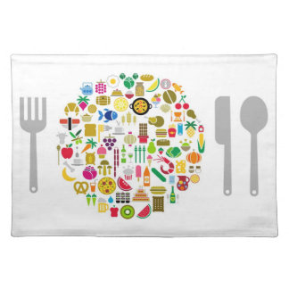Individual table cloth with food drawings mantel