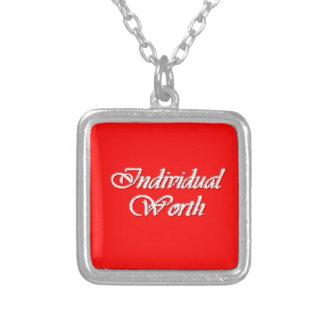 Individual Worth - Personal Progress ValueNecklace Square Pendant Necklace