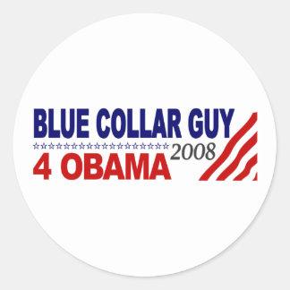 Individuo 4 Obama del cuello azul Pegatinas Redondas