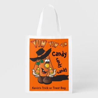 Individuo anaranjado tonto lindo del caramelo de bolsa reutilizable