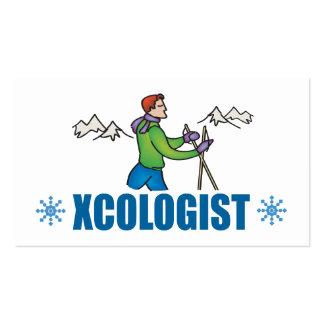 Individuo chistoso del esquí del campo a través tarjetas de visita