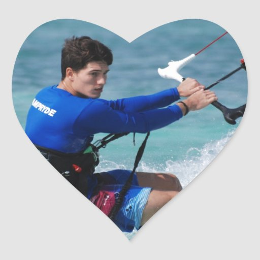 Individuo de Kitesurfing Pegatina En Forma De Corazón