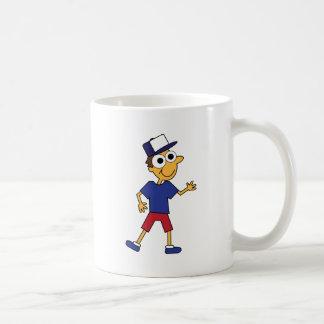 Individuo de la diversión con el gorra tazas de café