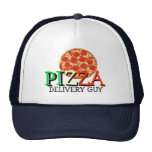 Individuo de la entrega de la pizza gorros