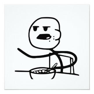 """Individuo de Meme del cereal Invitación 5.25"""" X 5.25"""""""