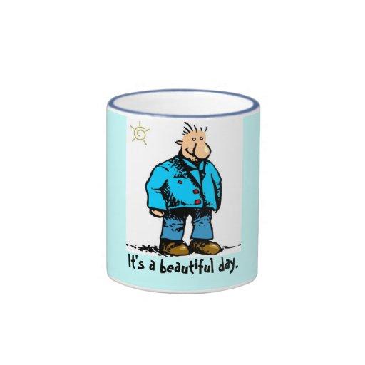 Individuo del dibujo animado, es un día hermoso tazas