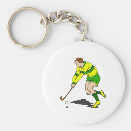 Individuo del hockey hierba llavero redondo tipo pin