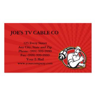 Individuo del instalador de la televisión por cabl tarjetas de visita