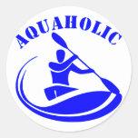 Individuo del kajak de Aquaholic Etiquetas Redondas