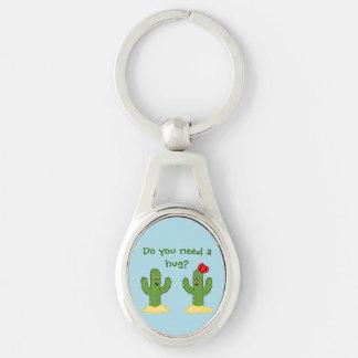 Individuo espinoso del cactus del dibujo animado llavero plateado ovalado