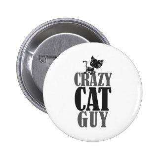 Individuo loco del gato pin redondo de 2 pulgadas