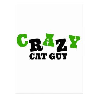 Individuo loco del gato tarjeta postal