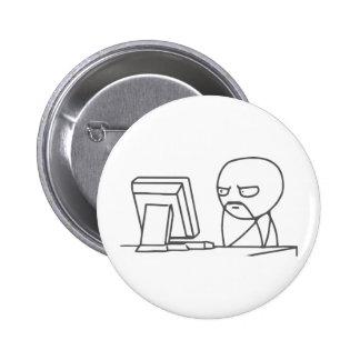 Individuo Meme del ordenador - botón de Pinback Pins