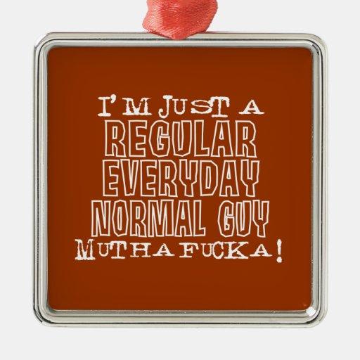 Individuo normal adorno navideño cuadrado de metal