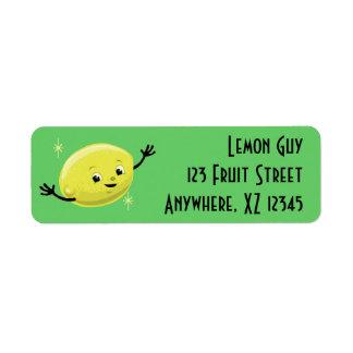 Individuo retro adaptable del limón etiqueta de remite