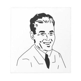 Individuo retro del caballero 50s libreta para notas