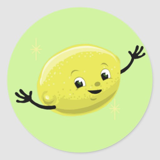 Individuo retro del limón pegatina redonda