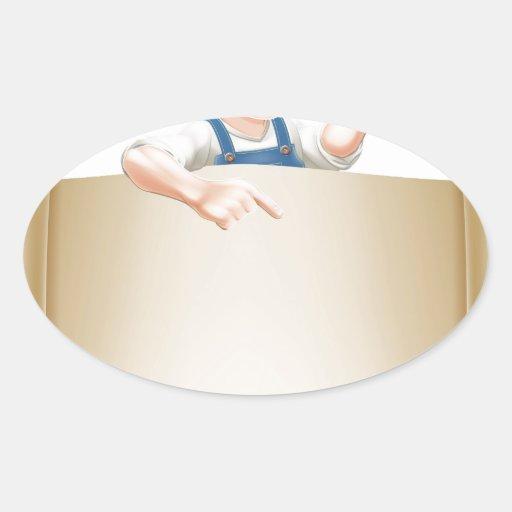 Individuo y voluta de la brocha pegatinas ovaladas