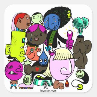 individuos del círculo calcomanías cuadradas personalizadas