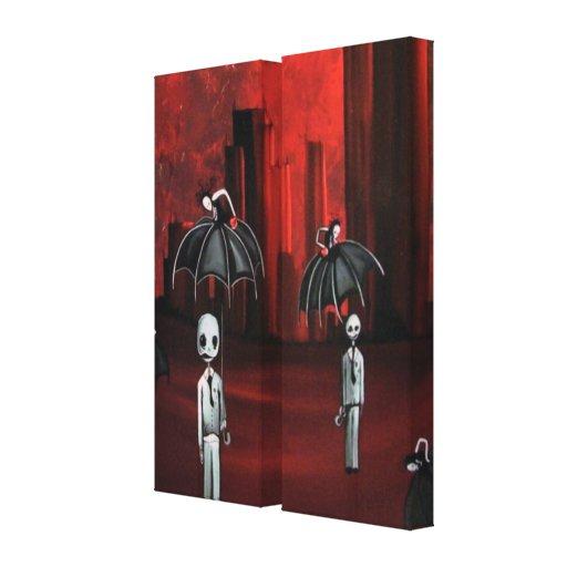 individuos del fantasma del zombi en la lluvia impresión en lona estirada