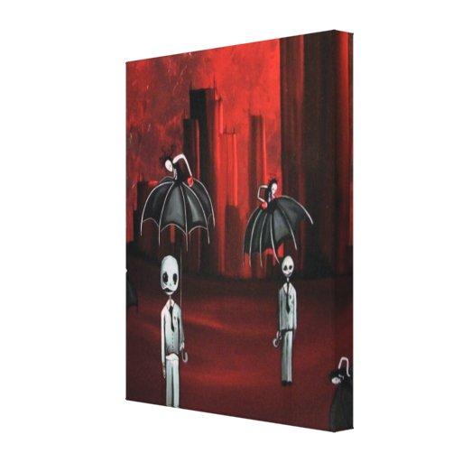 individuos del fantasma del zombi en la lluvia impresion de lienzo