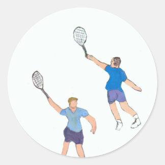 individuos del tenis pegatina redonda