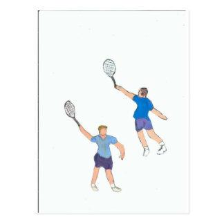 individuos del tenis tarjeta postal