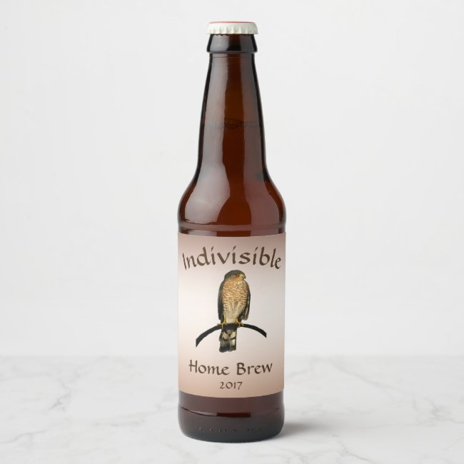 Indivisible Brown Hawk Bird Animal Beer Label