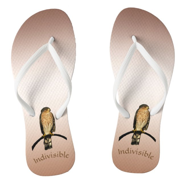 Indivisible Brown Hawk Flip Flops