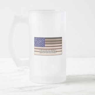 Indivisible Flag Frosted Glass Beer Mug