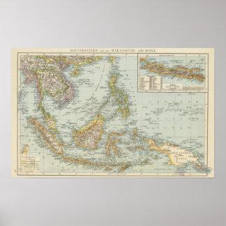 Indo china and Malaysian Archipelago Poster