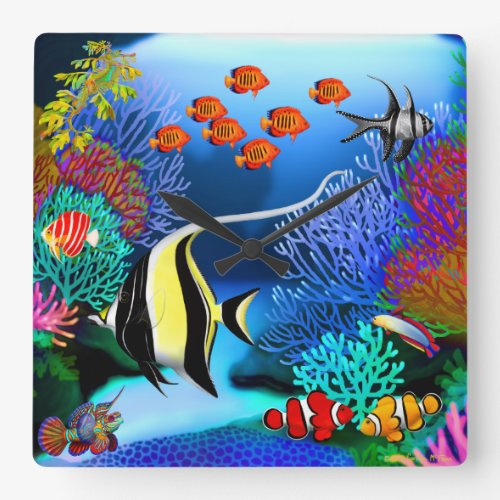 Indo Pacific Coral Reef Fish Wall Clock