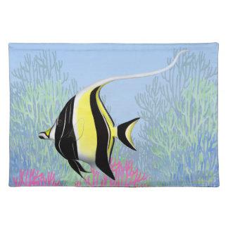 Indo Pacific Reef Moorish Idol Fish Placemats