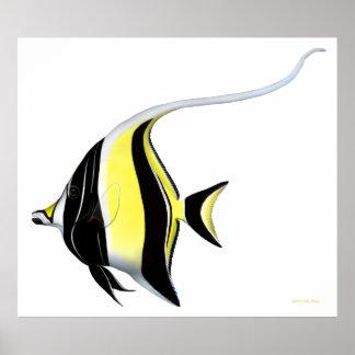 Indo Pacific Reef Moorish Idol Fish Poster
