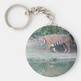 Indochinese Tiger Basic Round Button Keychain