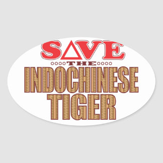 Indochinese Tiger Save Oval Sticker