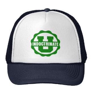 """Indoctrinate U"" Navy Blue and White Trucker Hat"