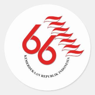 Indonesia 66 Tahun Classic Round Sticker